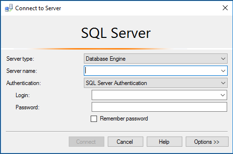 Microsoft SQL Server Management Studio - Connect to Server dialog box