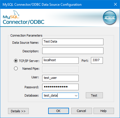Dialog box for MySQL Connector/ODBC Data Source Configuration with alternate port.