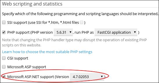 Plesk - ASP.NET version