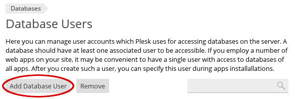 Plesk - Databases - Add Database User button