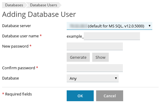 Plesk - Databases - Adding Database User page
