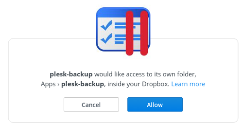 Plesk - Dropbox - Allow access