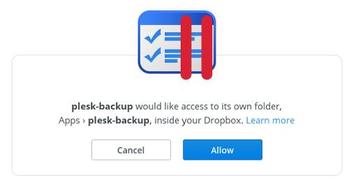 Plesk - Dropbox - Allow access