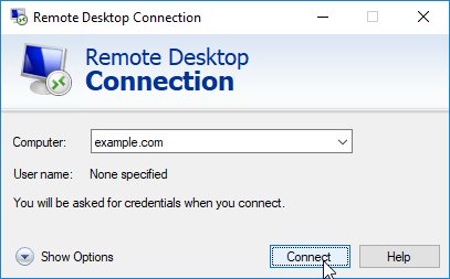 Initial screen for Remote Desktop Connection client.