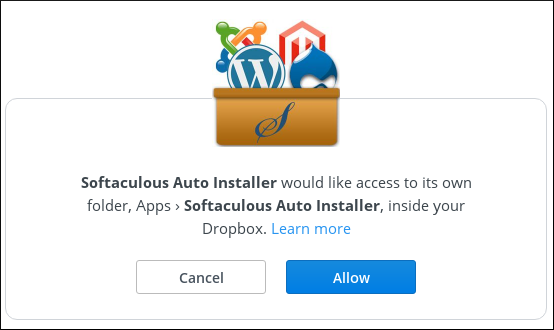 Softaculous - Allow Dropbox access