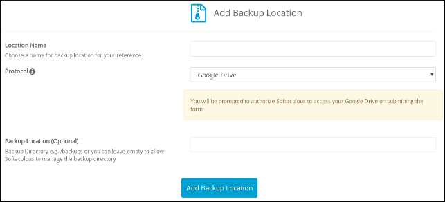 Softaculous - Add Backup Location - Google Drive