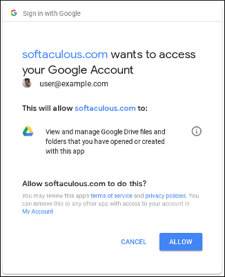 Softaculous - Google Drive - Grant access