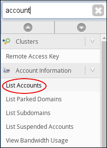 WebHost Manager - List Accounts