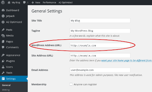 WordPress - General Settings - WordPress URL