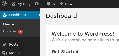 WordPress dashboard - updates