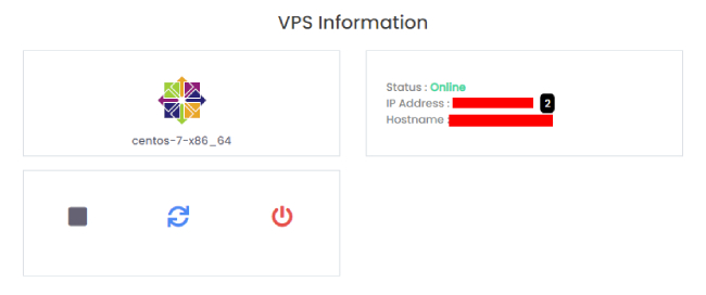 VPS Information section within the Customer Portal